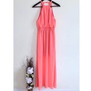 Anthropologie pink halter long maxi dress